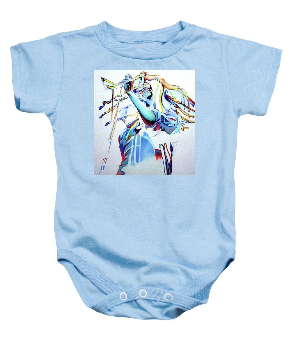 Bob Marley Baby Onesie featuring the painting Bob Marley Colorful by Joshua Morton