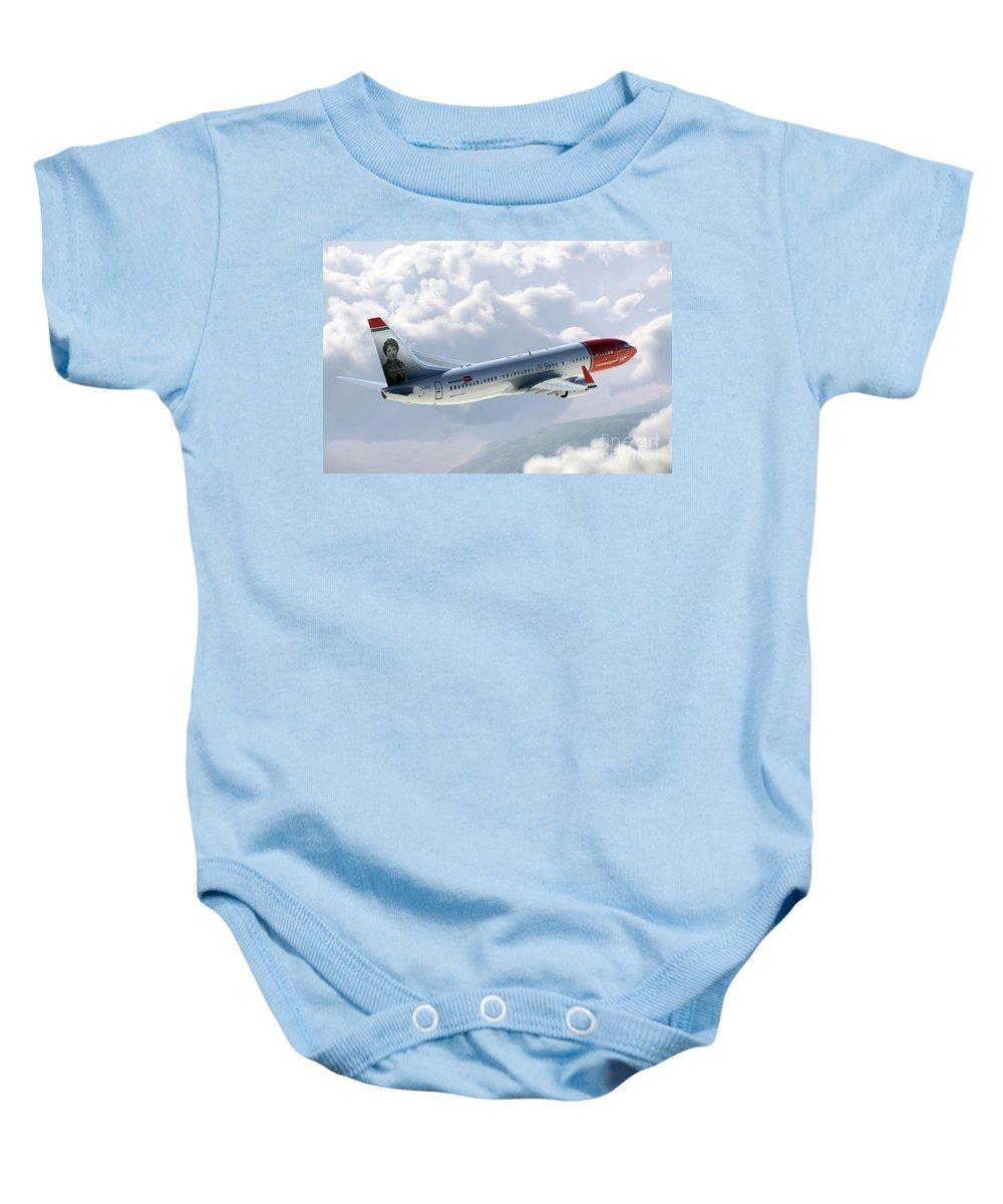 Boeing Baby Onesie featuring the digital art Boeing 737 Norwegian Air by J Biggadike