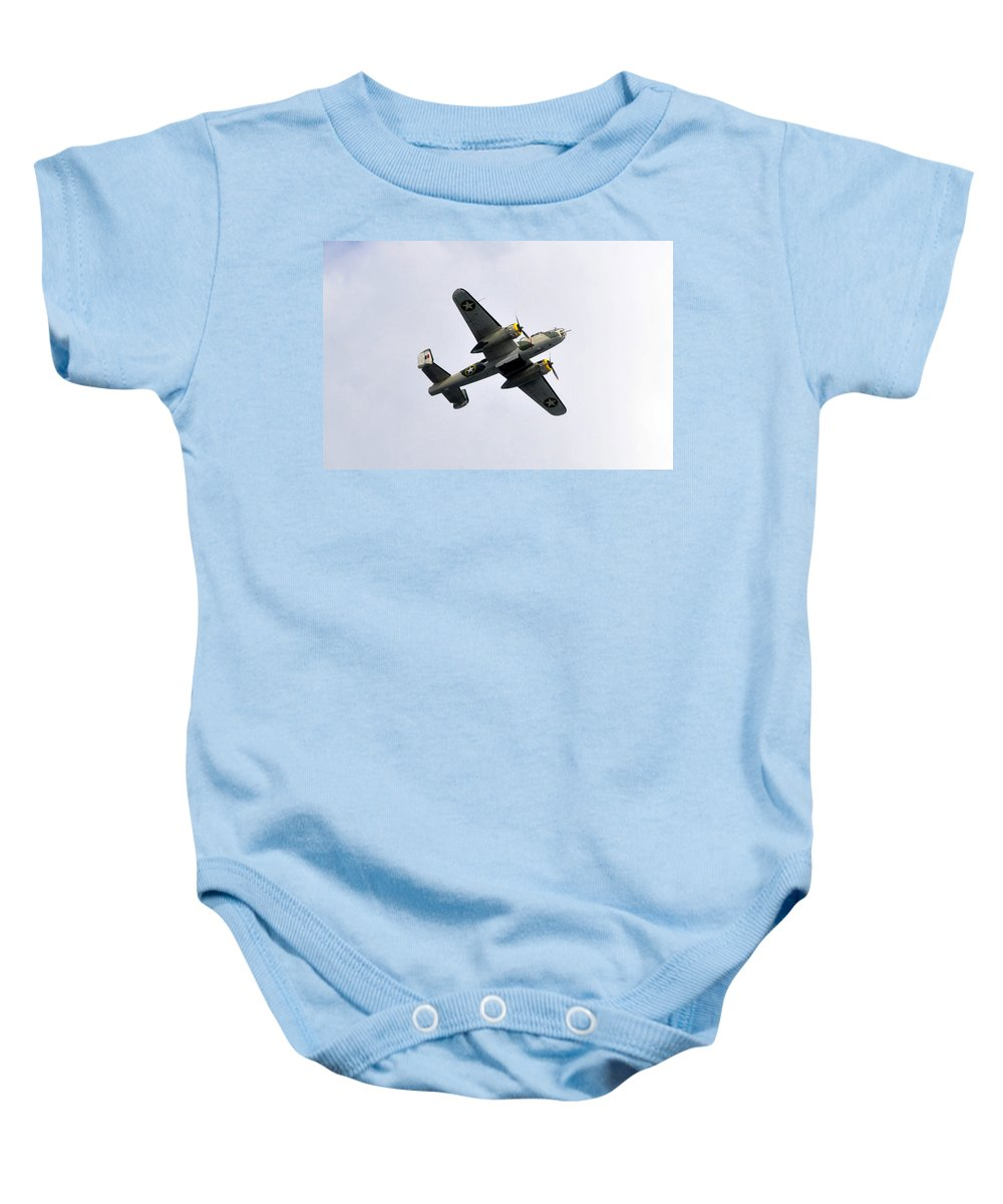 North American B 25 Mitchel Bomber Baby Onesie featuring the photograph Bombs Away by David Lee Thompson