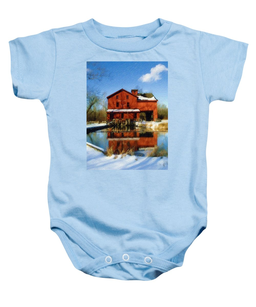 Bonneyville Mill Baby Onesie featuring the photograph Bonneyville In Winter by Sandy MacGowan