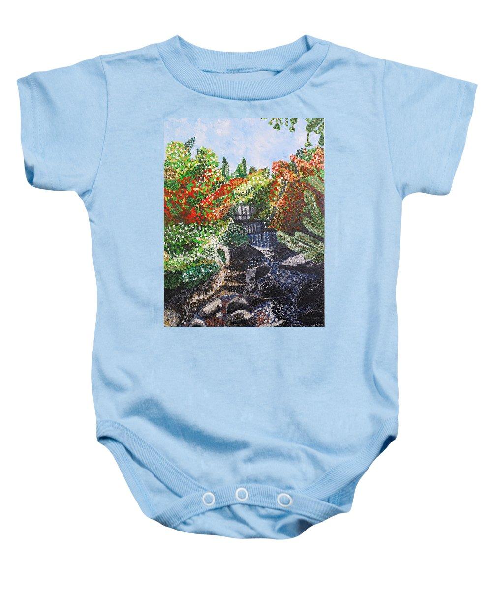 Landscape Baby Onesie featuring the painting Botanic Garden Merano 1 by Valerie Ornstein