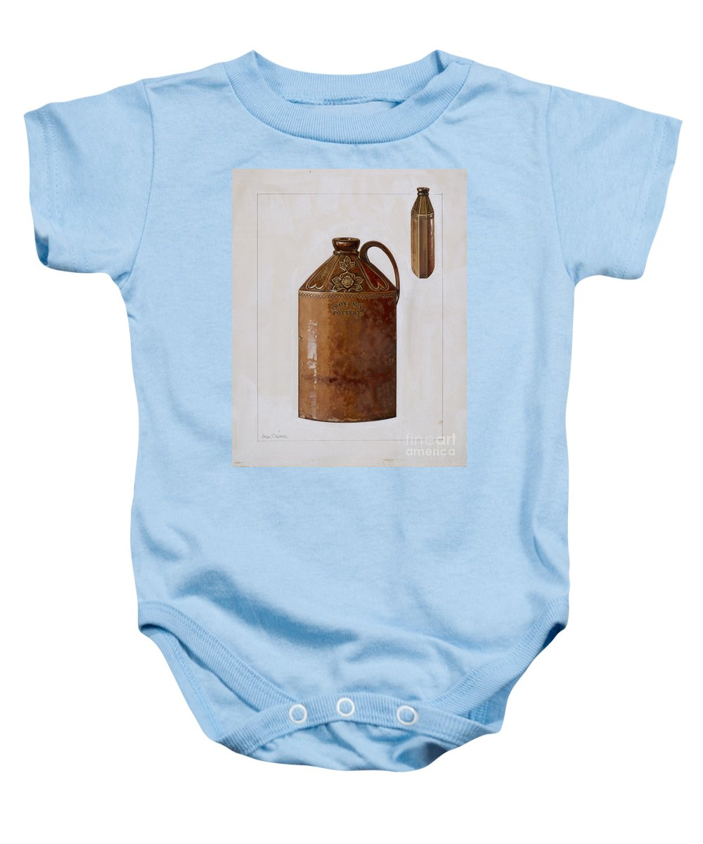 Baby Onesie featuring the drawing Bottle by Charles Caseau
