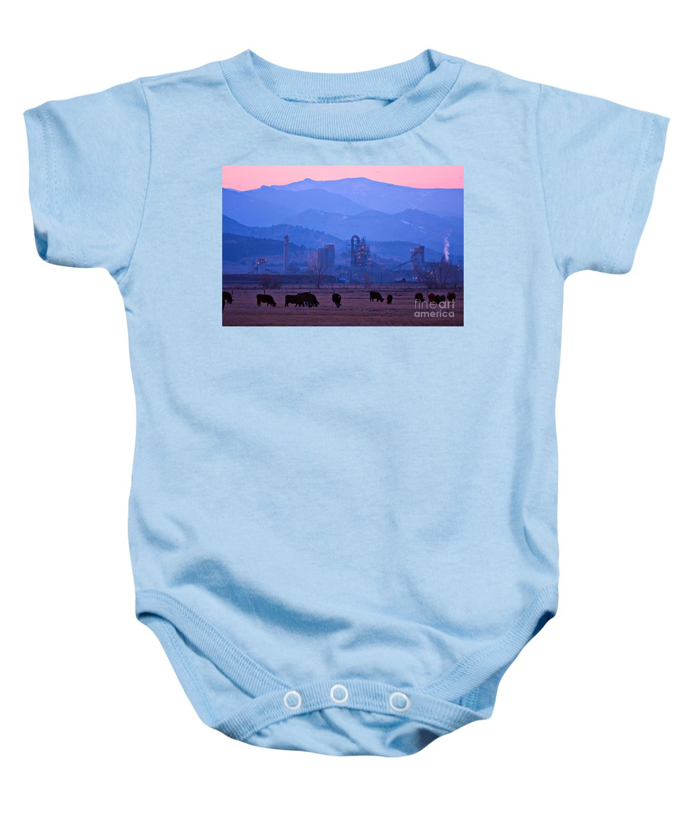 Boulder Baby Onesie featuring the photograph Boulder County Industry Meets Country by James BO Insogna