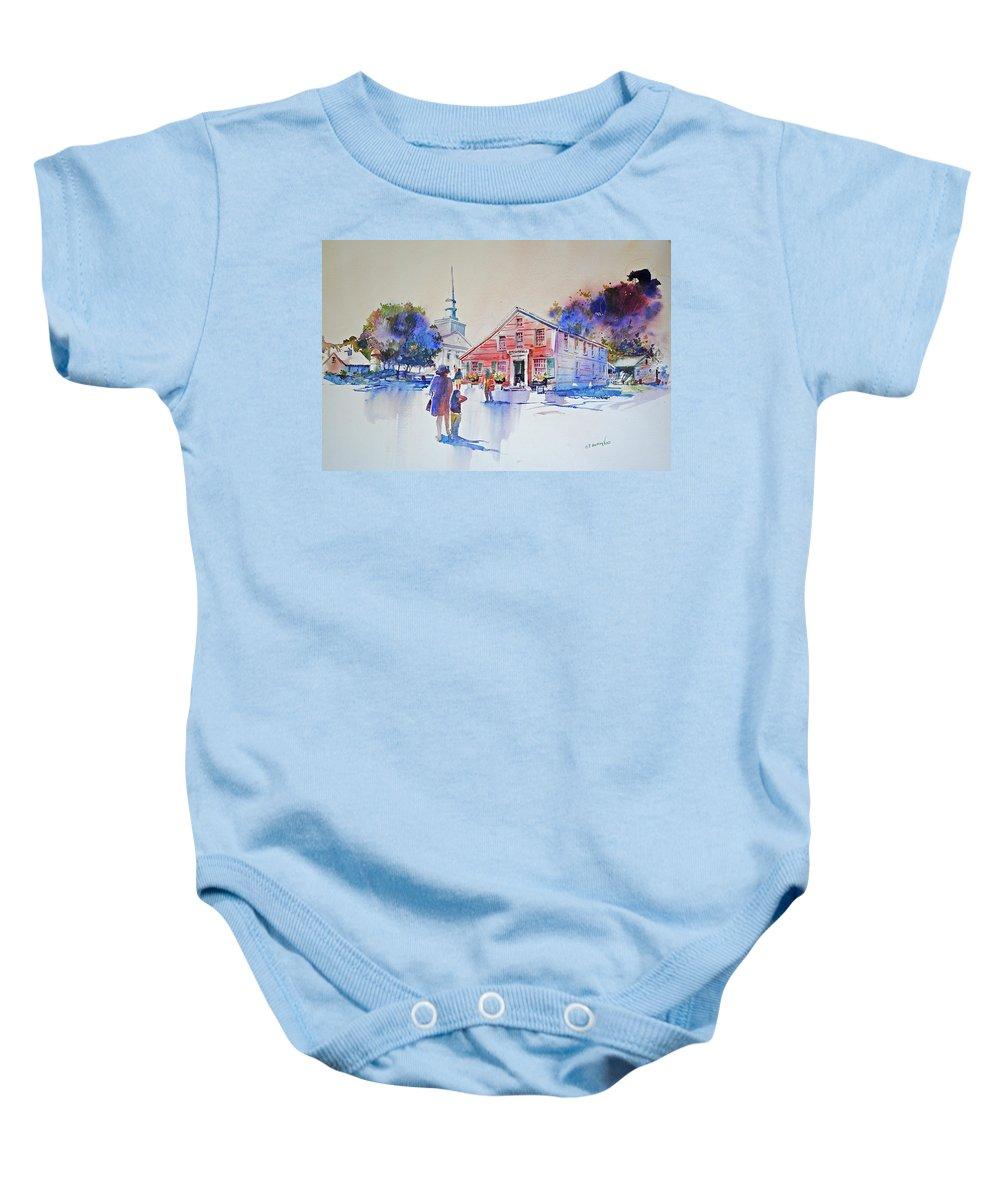 Visco Baby Onesie featuring the painting Bramhall's Corner by P Anthony Visco
