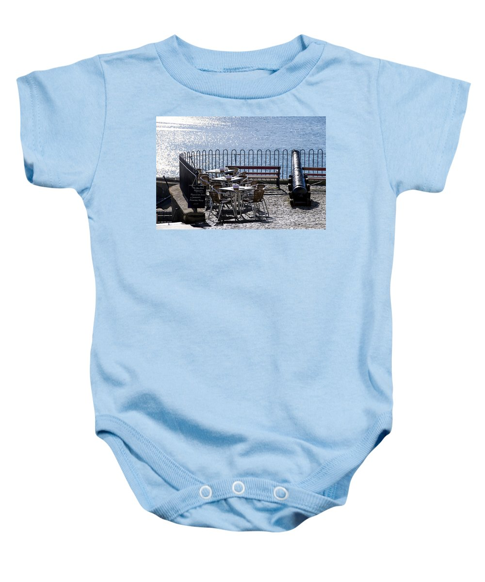 Cafe Baby Onesie featuring the photograph Breakfast Before Battle by Susie Peek