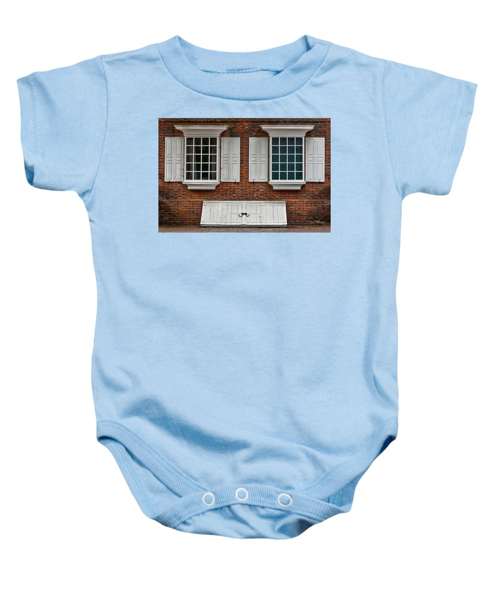 Windows Baby Onesie featuring the photograph Brick Face by Christopher Holmes