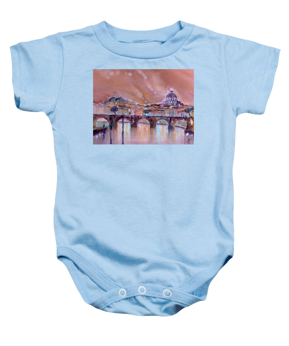 Bridge Baby Onesie featuring the painting Bridge Of Angels - Rome - Italy by Sabina Von Arx