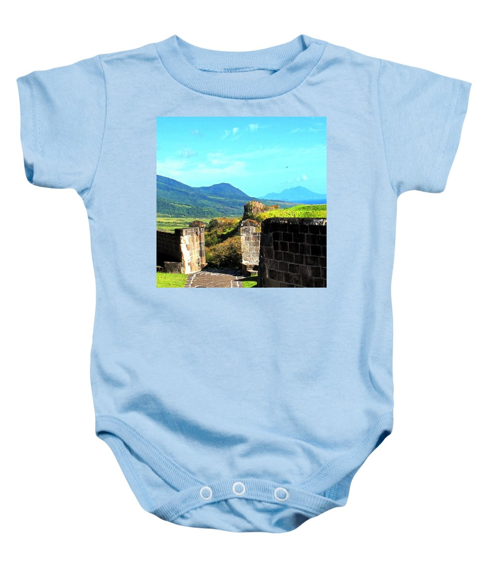 St Kitts Baby Onesie featuring the photograph Brimstone Towards Nevis by Ian MacDonald