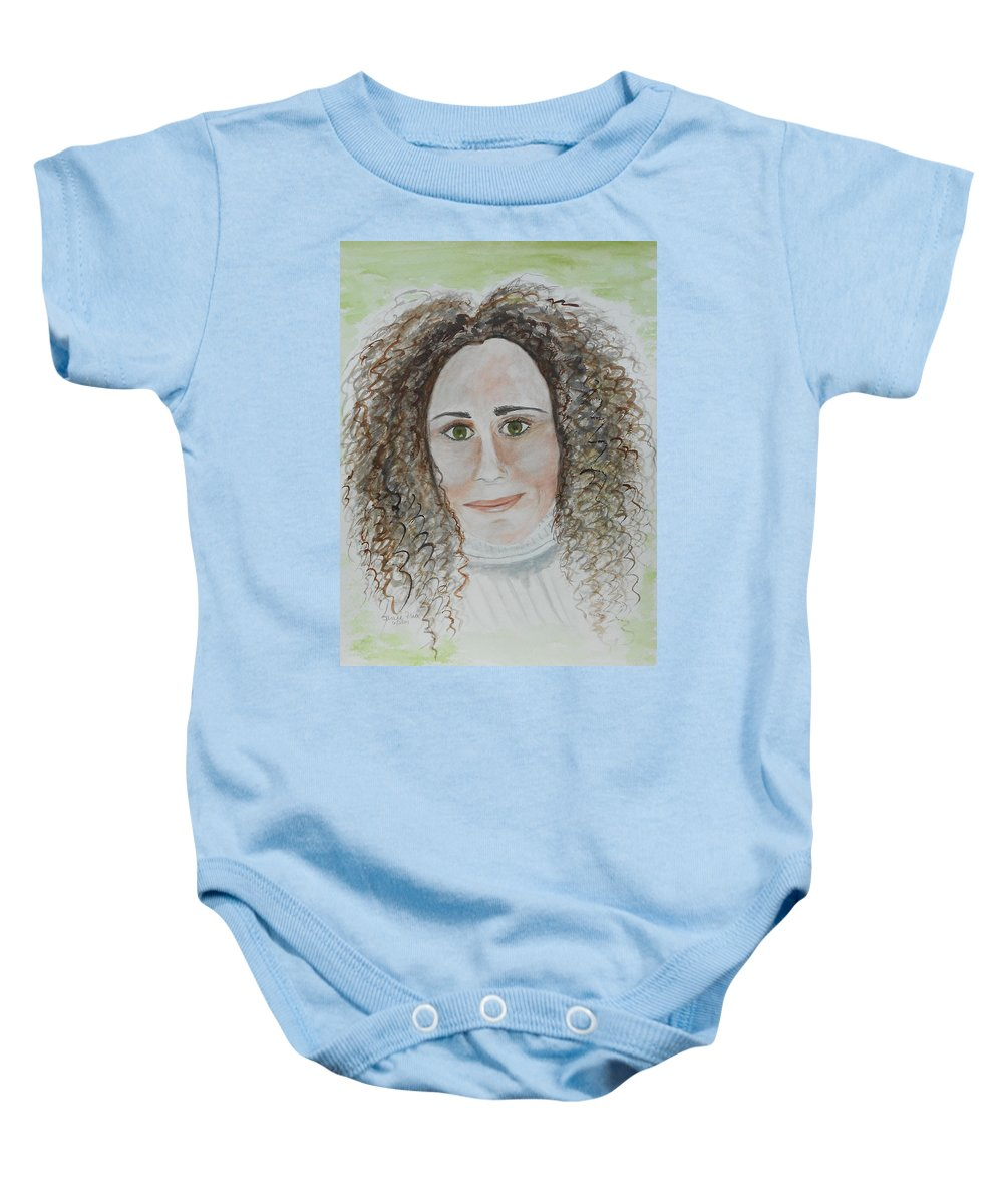 Portrait Baby Onesie featuring the painting Brooke by Jamie Frier