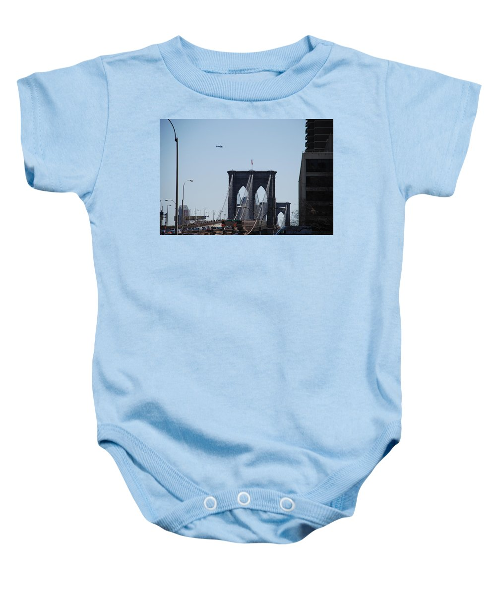 Architecture Baby Onesie featuring the photograph Brooklyn Bridge by Rob Hans