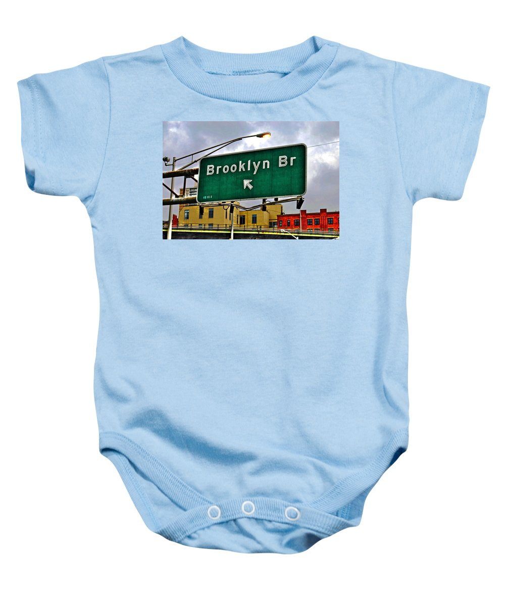 Brooklyn Baby Onesie featuring the photograph Brooklyn Bridge Thisaway by Randy Aveille