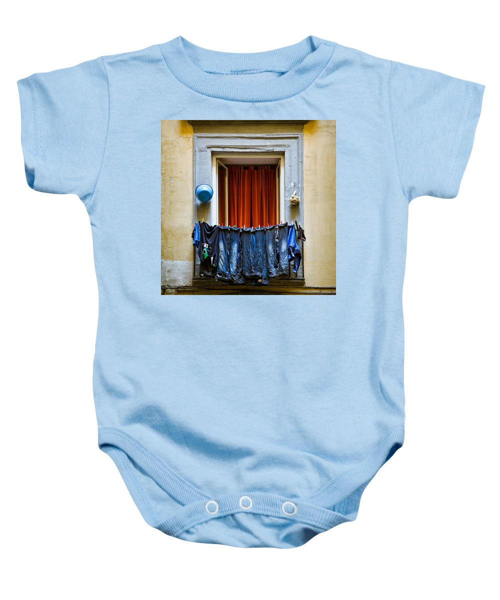 Clothes Baby Onesie featuring the photograph Bucket - Garlic And Jeans by Dave Bowman