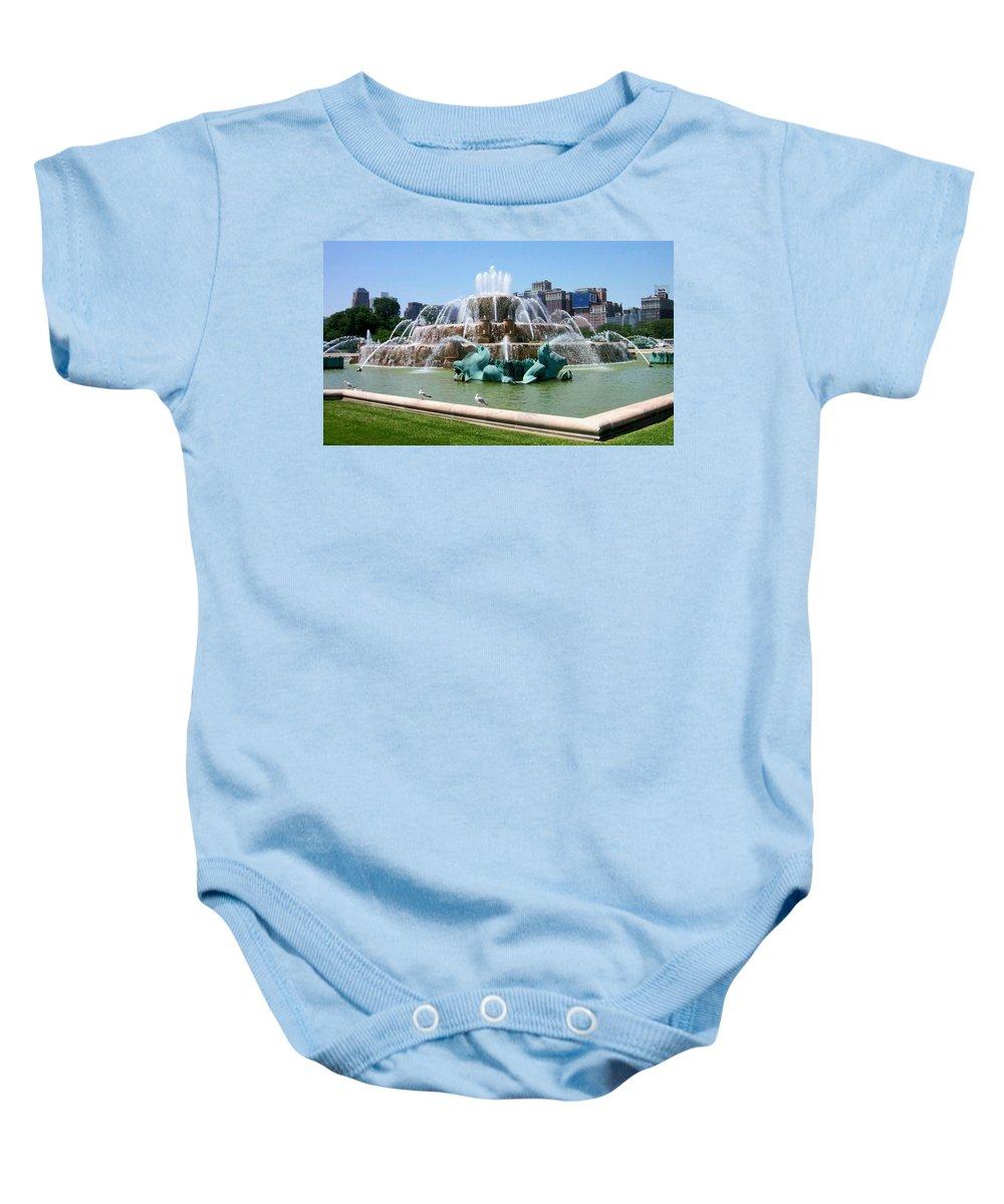 Chicago Baby Onesie featuring the photograph Buckingham Fountain by Anita Burgermeister