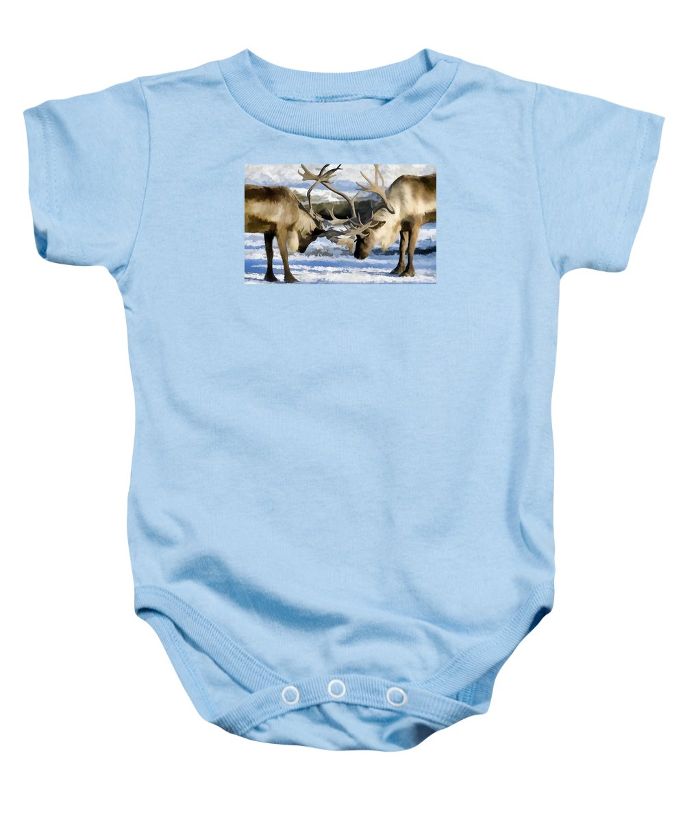 Bull Elk Fighting Baby Onesie featuring the painting Bull Elk Fighting by Jeelan Clark