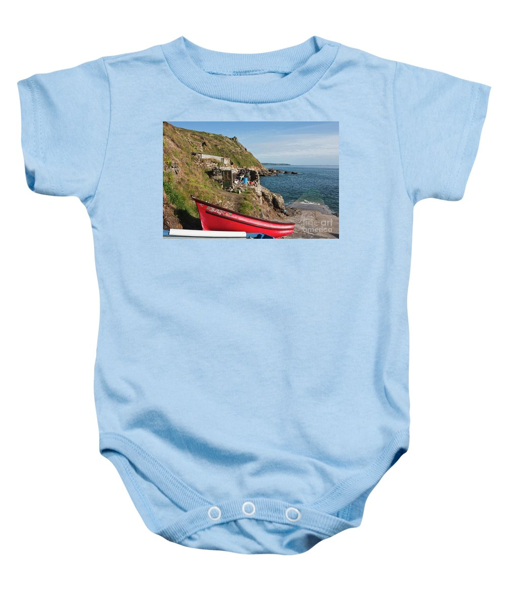 Priest's Cove Baby Onesie featuring the photograph Bunty In Priest's Cove Cape Cornwall by Terri Waters