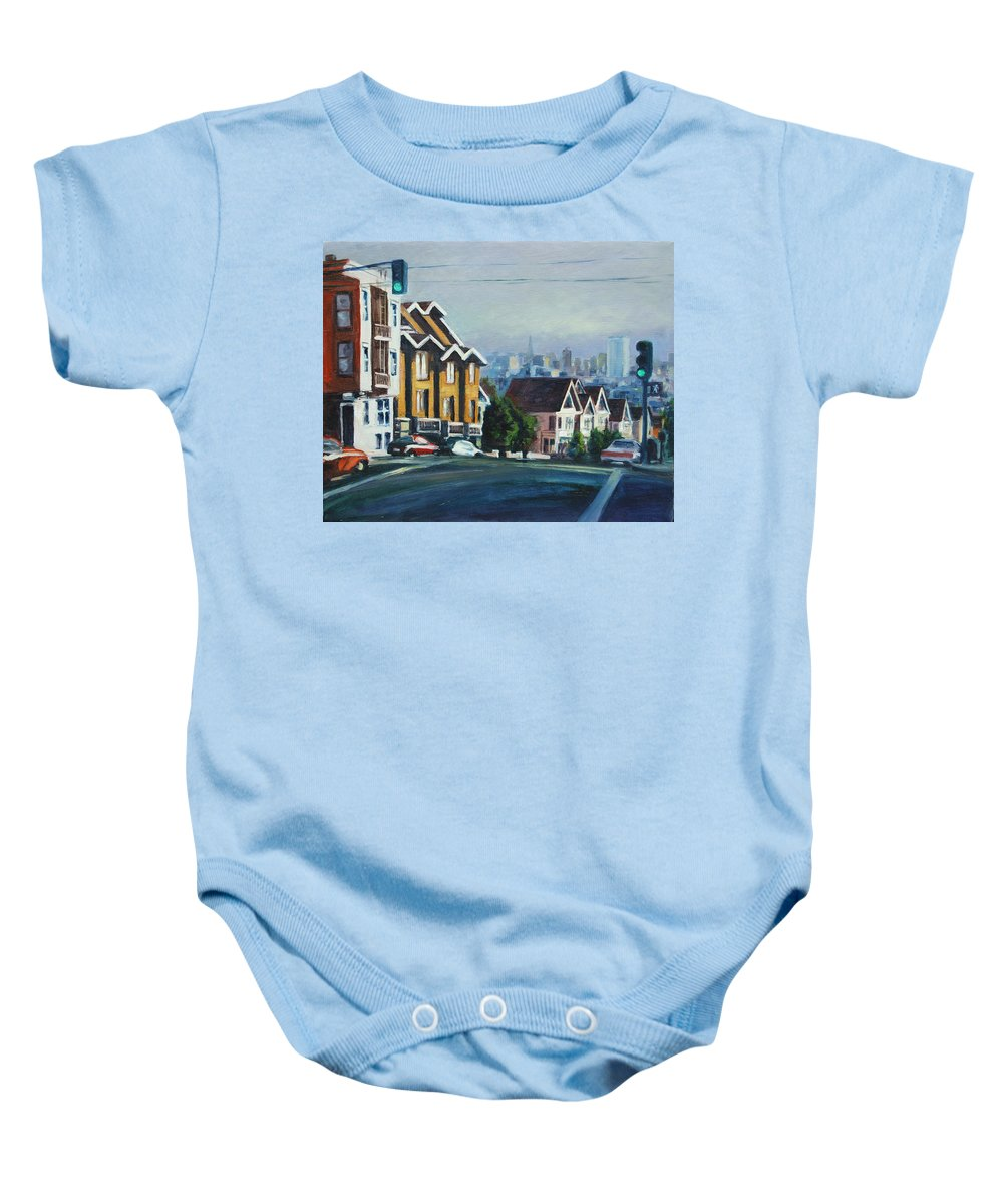 Cityscape Baby Onesie featuring the painting Bush Street by Rick Nederlof