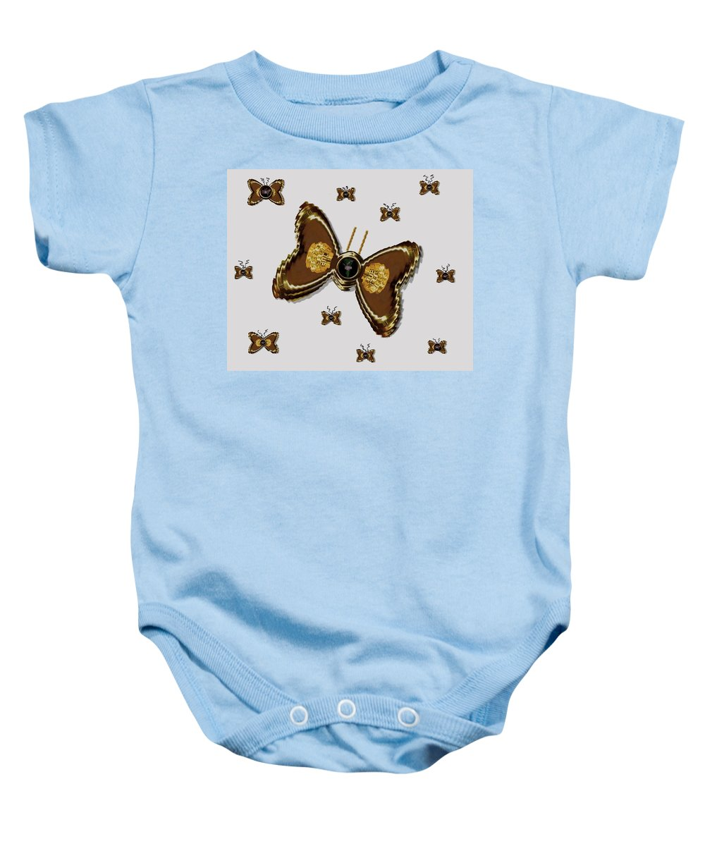 Gold Baby Onesie featuring the mixed media Butterflies For The Worlds Future by Pepita Selles
