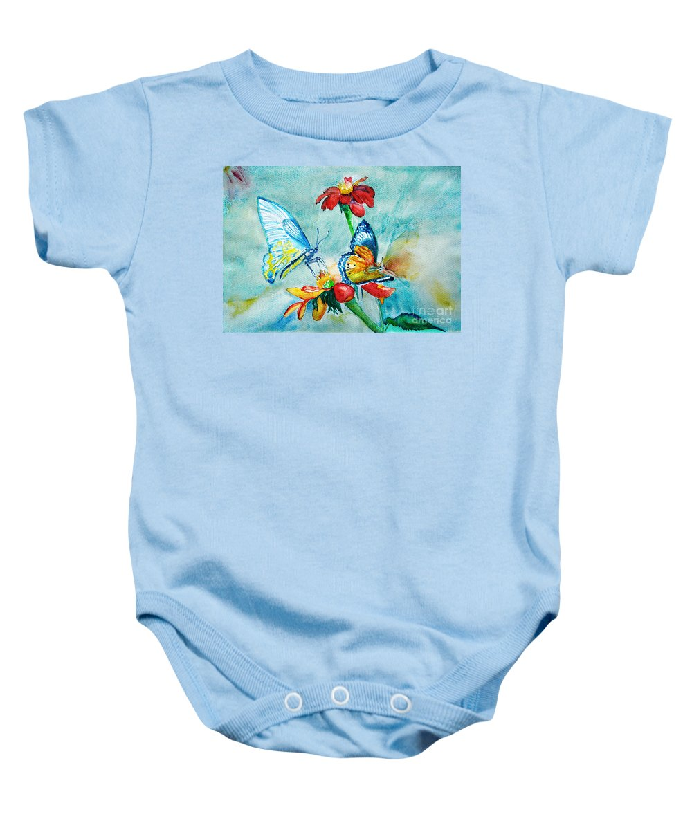 Spring Baby Onesie featuring the painting Butterfly Dance by Jasna Dragun