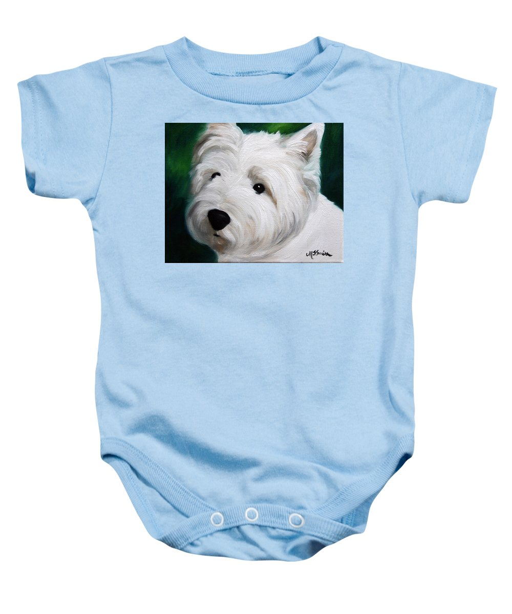 Art Baby Onesie featuring the painting Button Nose And Eyes Of Coal by Mary Sparrow