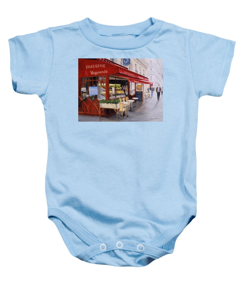 Cafe Baby Onesie featuring the painting Cafe 4 by Jay Johnson