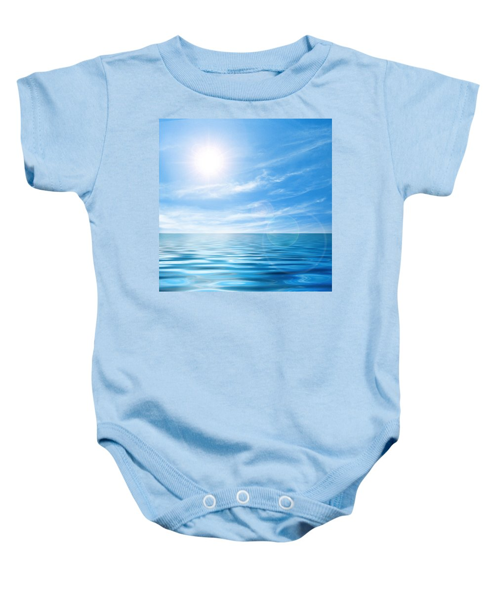 Atlantic Baby Onesie featuring the photograph Calm Seascape by Carlos Caetano