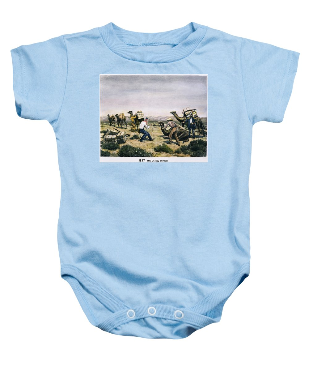 1857 Baby Onesie featuring the photograph Camel Express, 1857 by Granger