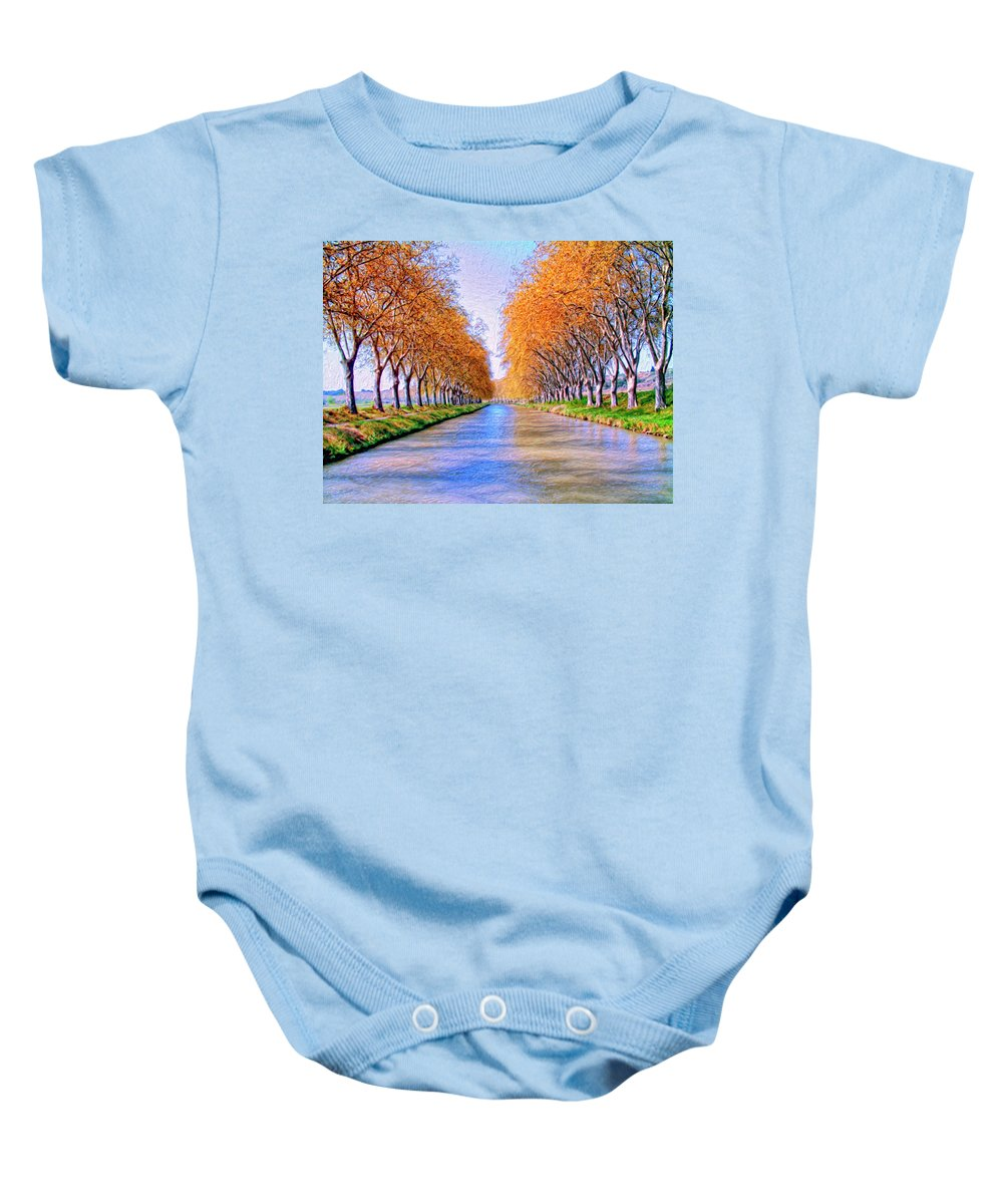 Canal Baby Onesie featuring the painting Canal Du Midi by Dominic Piperata
