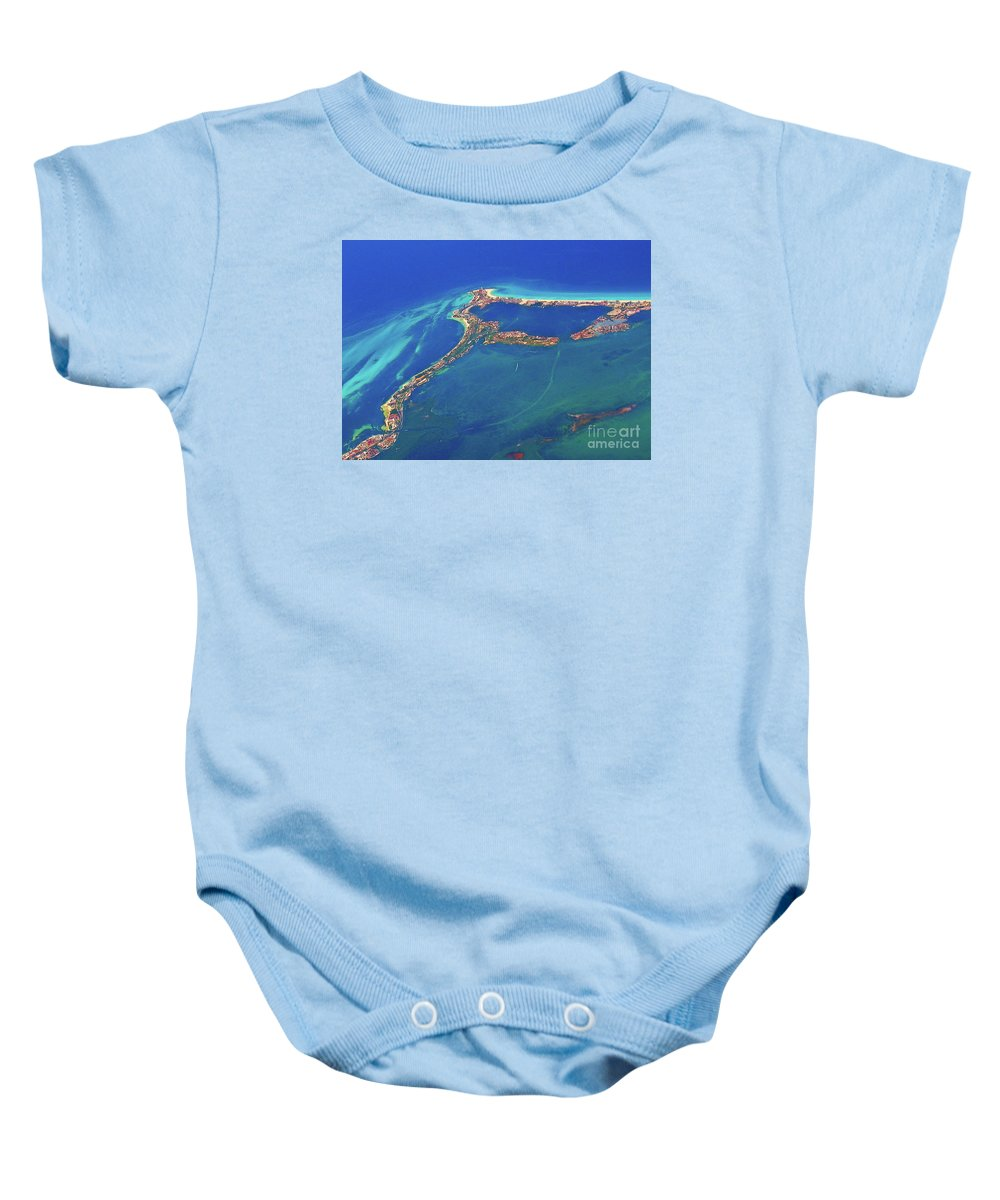 Cancun Wide By Air Baby Onesie featuring the photograph Cancun Wide By Air by Patti Whitten