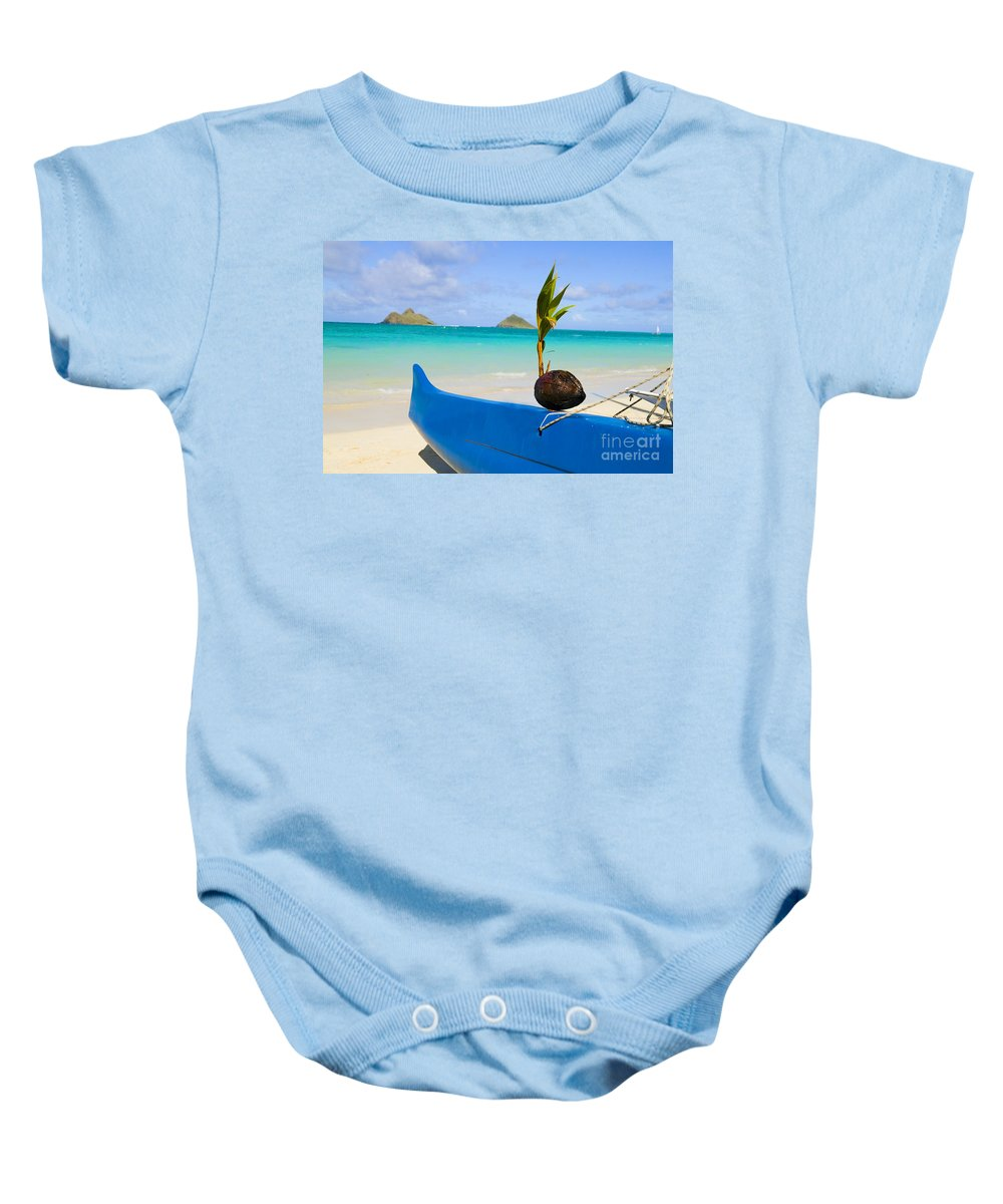 Ashore Baby Onesie featuring the photograph Canoe And Coconut by Dana Edmunds - Printscapes