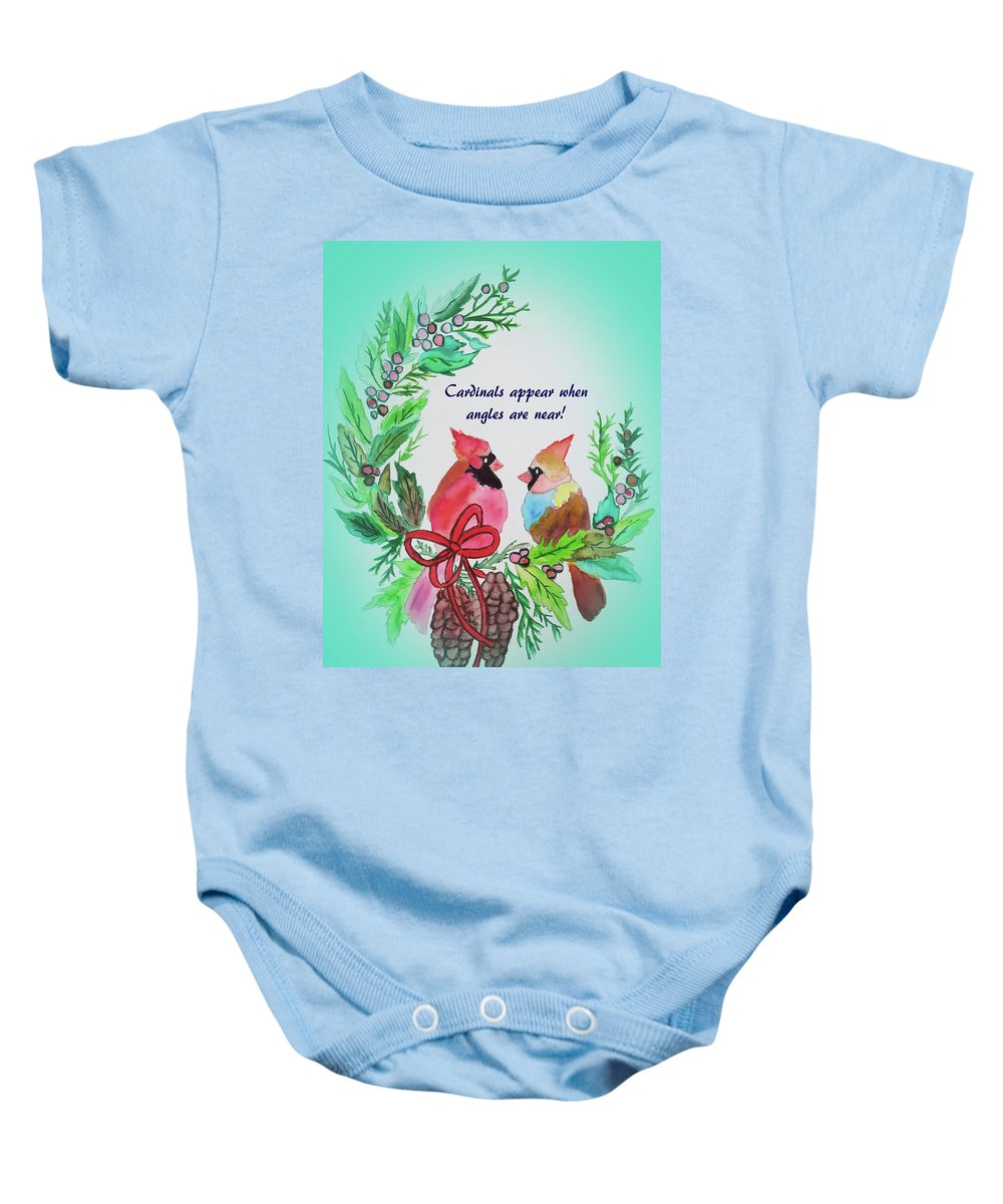 Baby Onesie featuring the painting Cardinals Painted By Laurel Adams by Laurel Adams