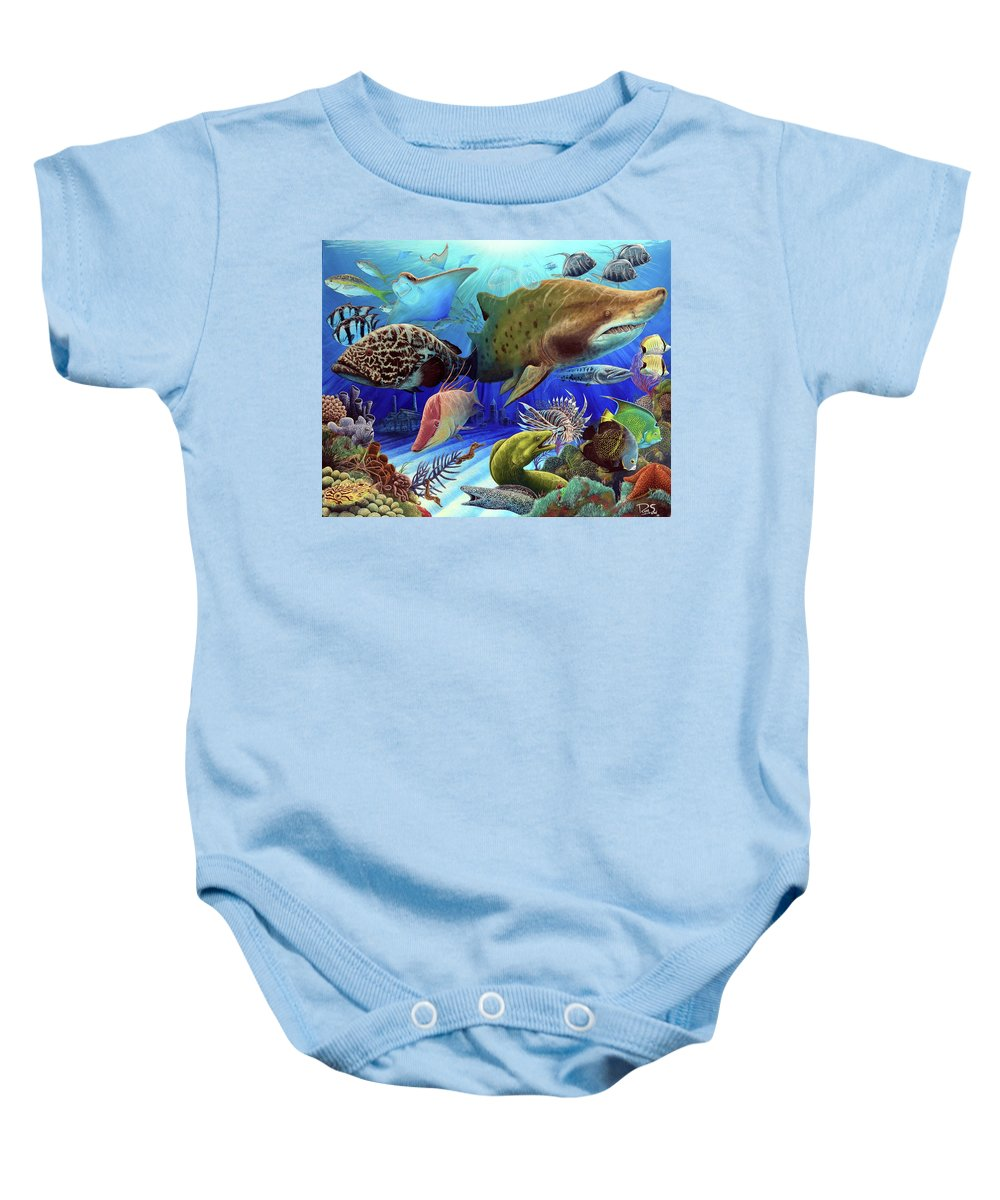 Fish Baby Onesie featuring the painting Caribbean Dream by Ryan Sobel