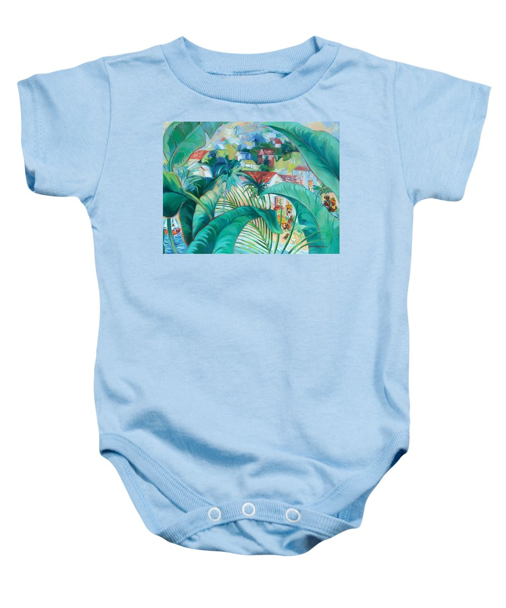Caribbean Figures Baby Onesie featuring the painting Caribbean Fantasy by Dianna Willman