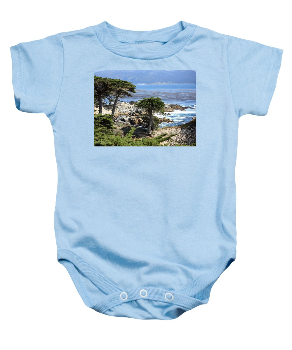 California Baby Onesie featuring the photograph Carmel Seaside With Cypresses by Carol Groenen