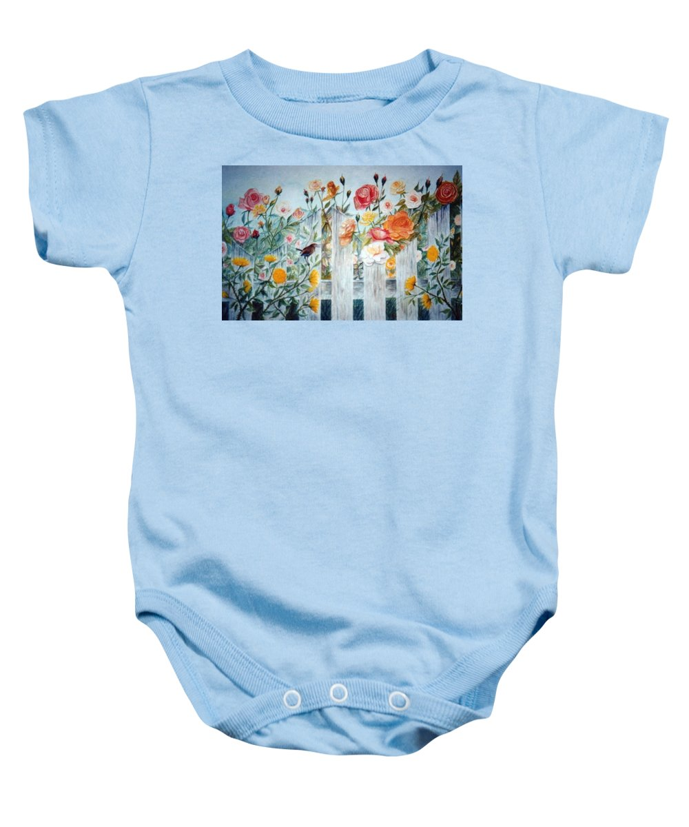 Roses; Flowers; Sc Wren Baby Onesie featuring the painting Carolina Wren And Roses by Ben Kiger