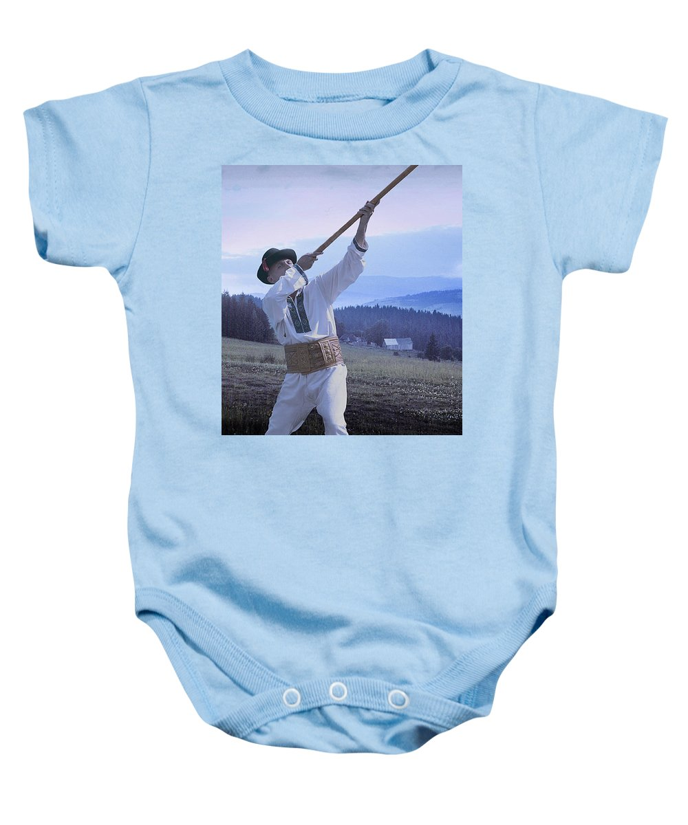 Ethnic Baby Onesie featuring the photograph Carpathian Highlander by Yuri Lev