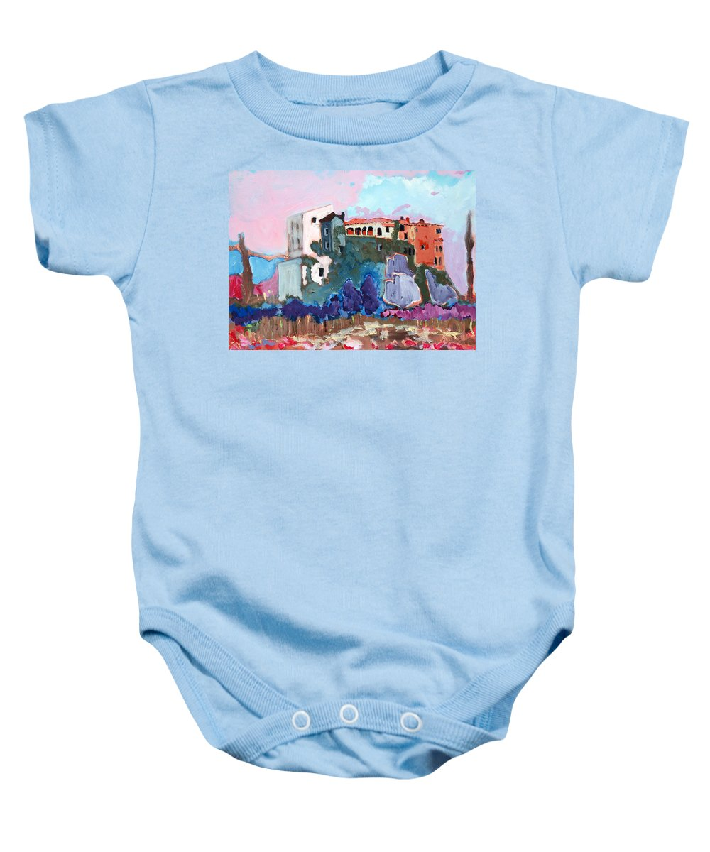 Castle Baby Onesie featuring the painting Castello by Kurt Hausmann