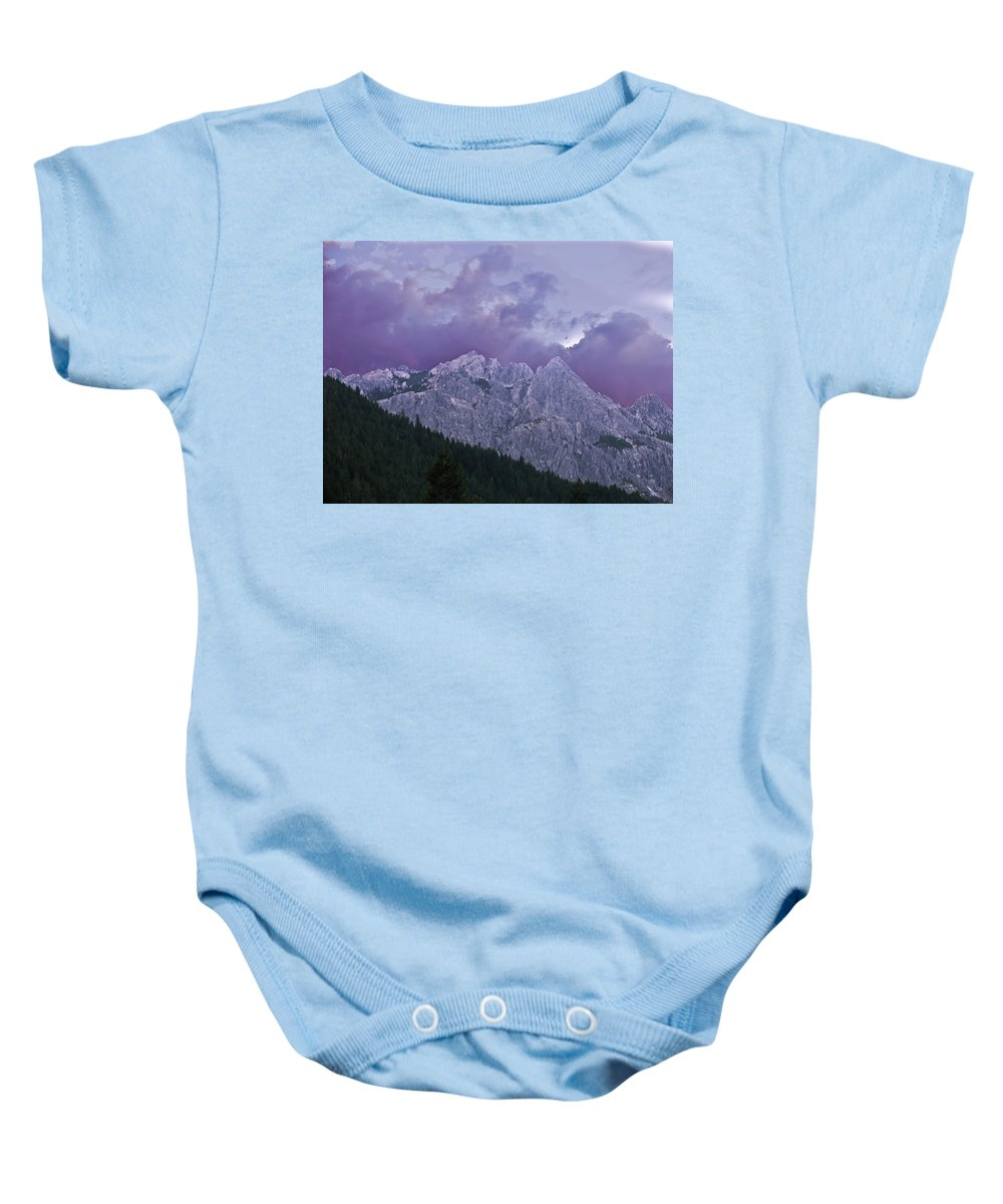 Landscape Baby Onesie featuring the photograph Castle Craggs by Karen W Meyer