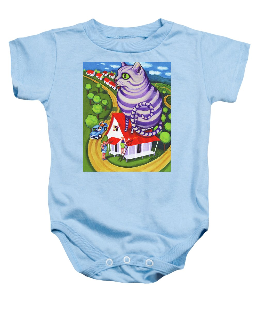 Rebecca Korpita Baby Onesie featuring the painting Cat On A Red Tin Roof by Rebecca Korpita