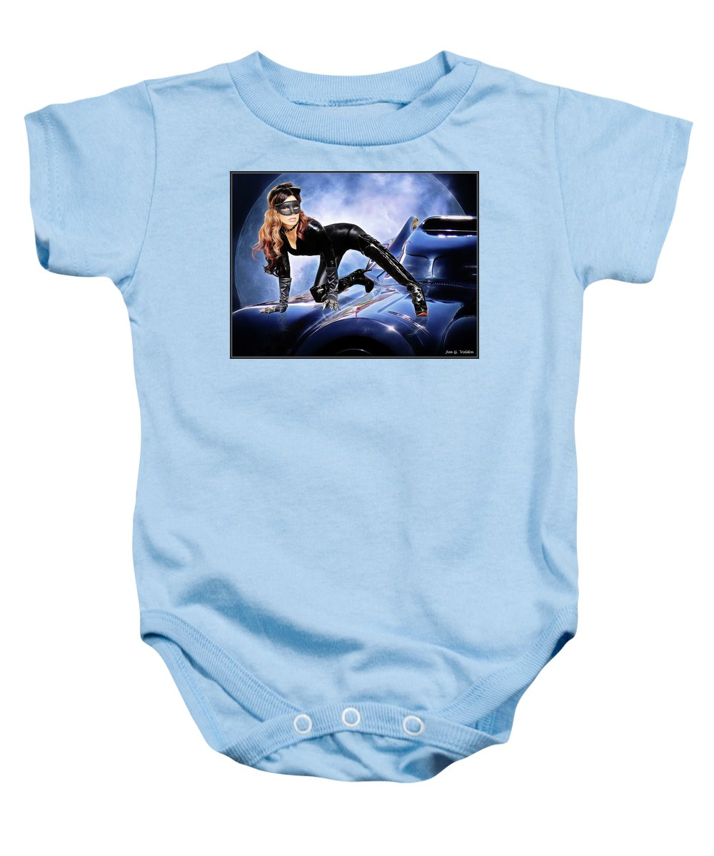 Cat Woman Baby Onesie featuring the photograph Cat On Bat Mobile by Jon Volden