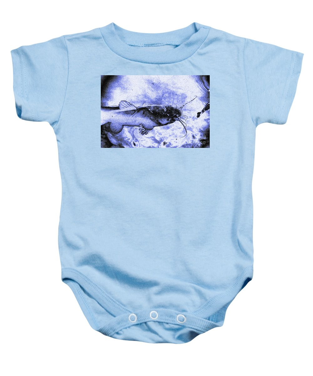 Catfish Blue Baby Onesie featuring the digital art Catfish Blue by Chris Taggart