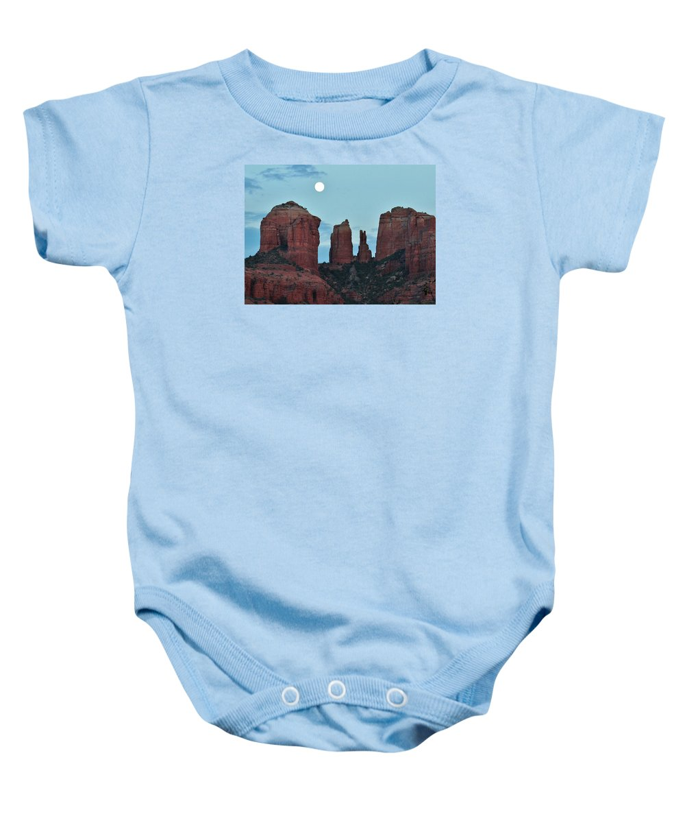Cathedral Rock Baby Onesie featuring the photograph Cathedral Rock Moon 081913 E2 by Edward Dobosh