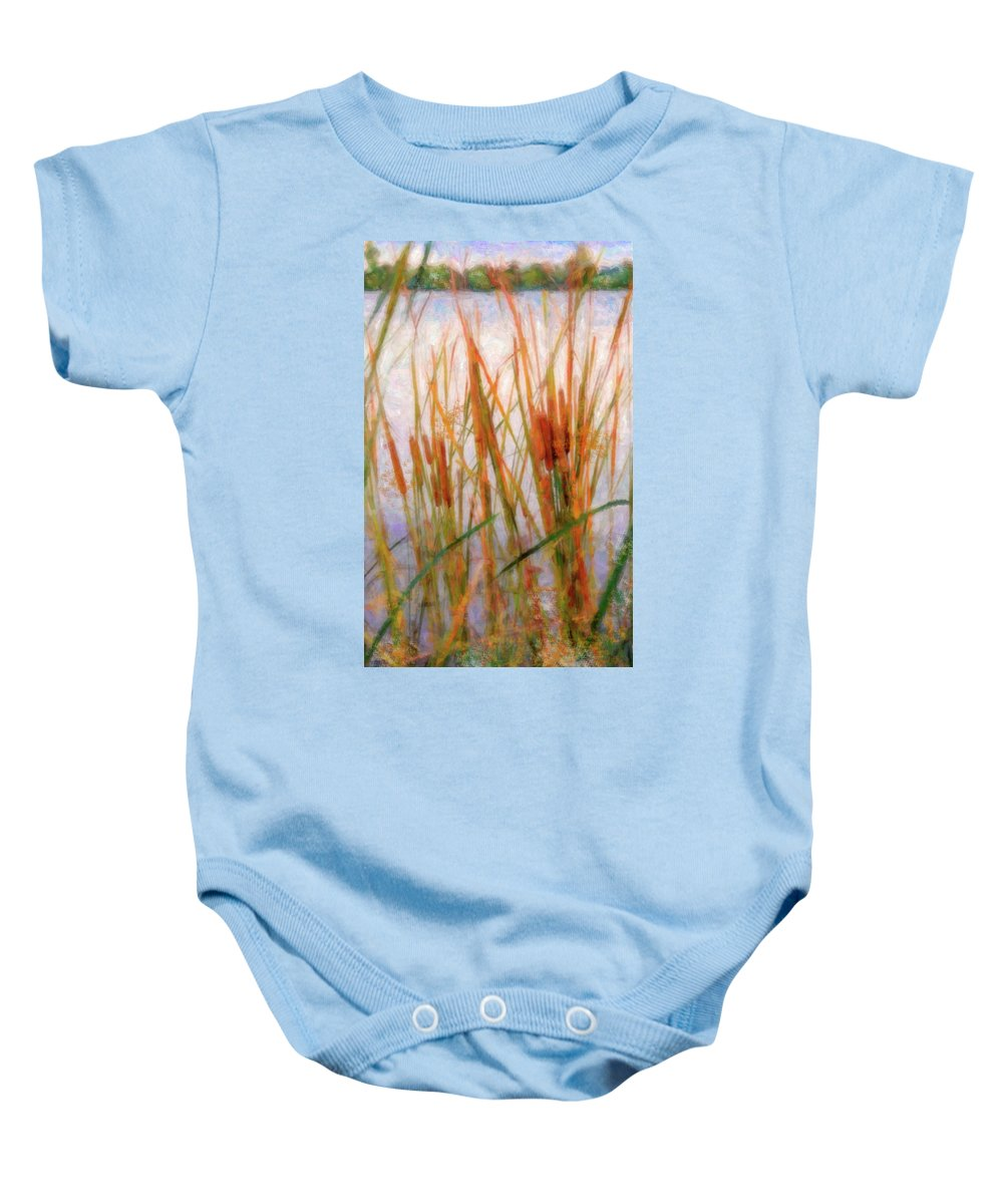 Cattails Baby Onesie featuring the photograph Cattails By The Lake by Betty LaRue