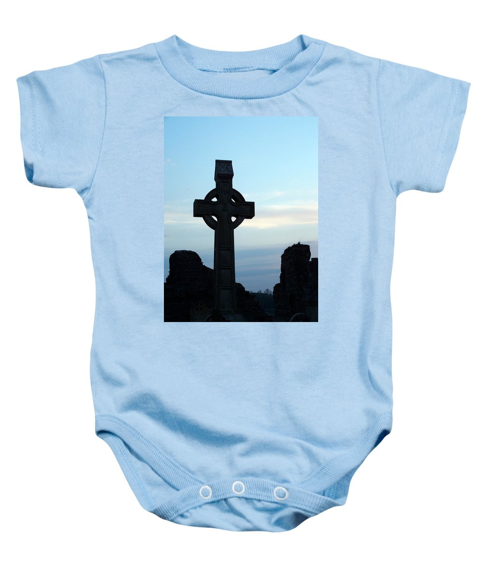 Irish Baby Onesie featuring the photograph Celtic Cross At Sunset Donegal Ireland by Teresa Mucha