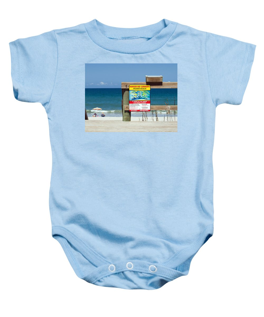 Florida; Beach; Surf; Surfing; Shore; Coast; Sand; Sandy; Waves; Summer; Central; Melbourne; Rip; Cu Baby Onesie featuring the photograph Central Florida Beach Warning by Allan Hughes