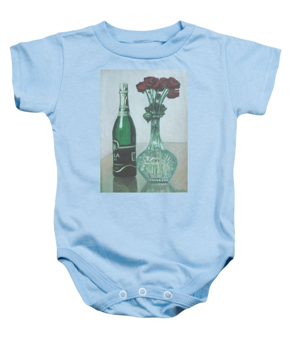 Champagne Baby Onesie featuring the painting Champagne And Roses by Usha Shantharam