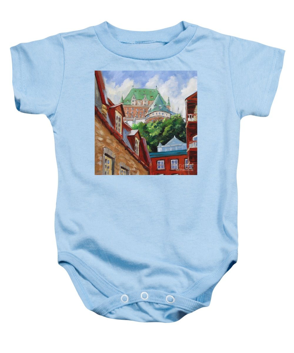 Chateau Frontenac Baby Onesie featuring the painting Chateau Frontenac by Richard T Pranke