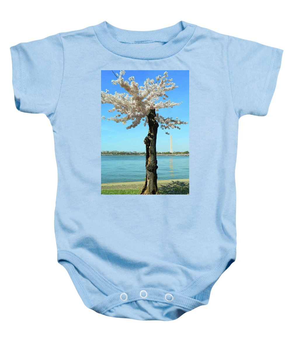 Cherry Blossom Portrait Baby Onesie featuring the photograph Cherry Blossom Portrait by Emmy Marie Vickers