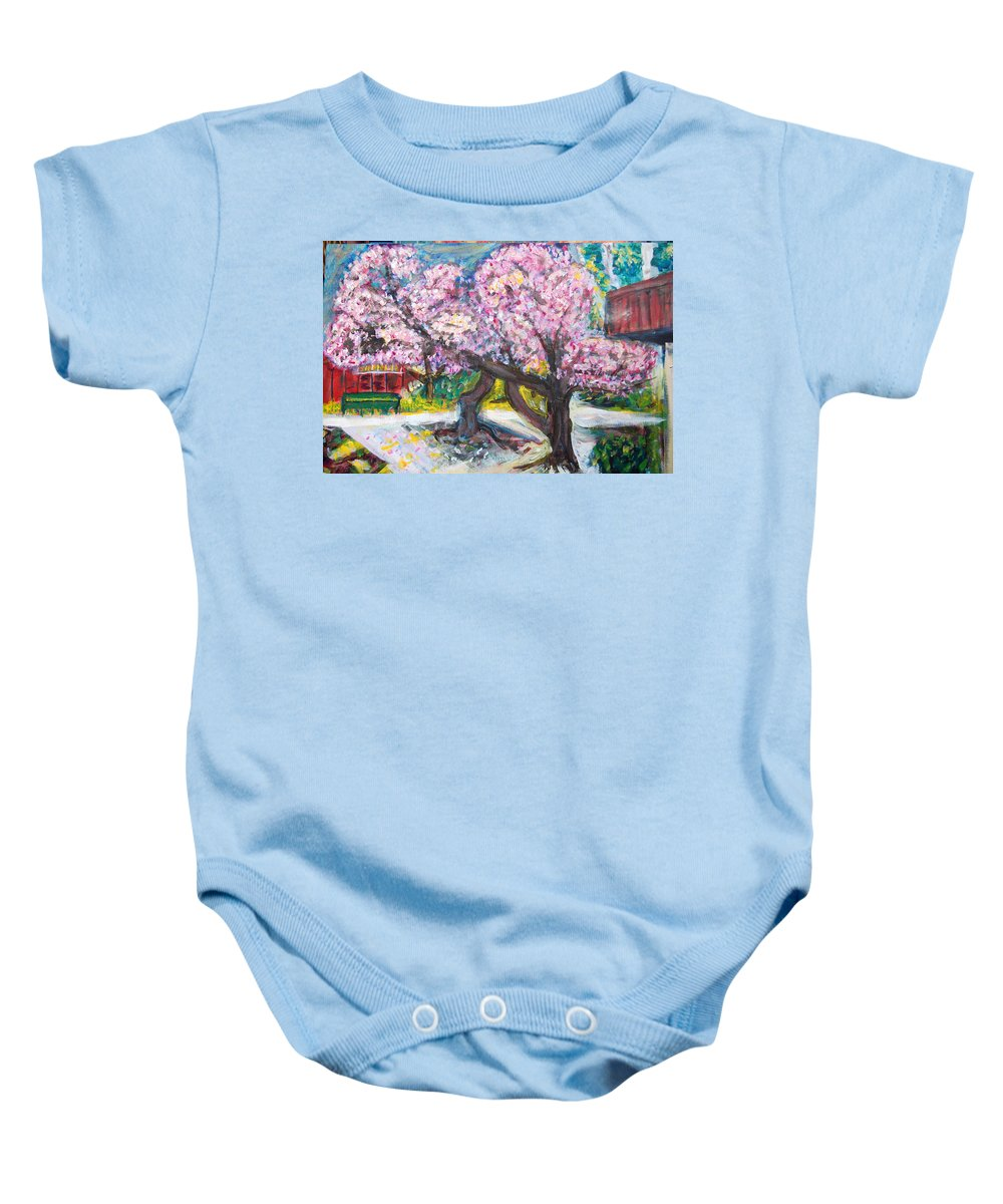 Cherry Tree Baby Onesie featuring the painting Cherry Blossom Time by Carolyn Donnell