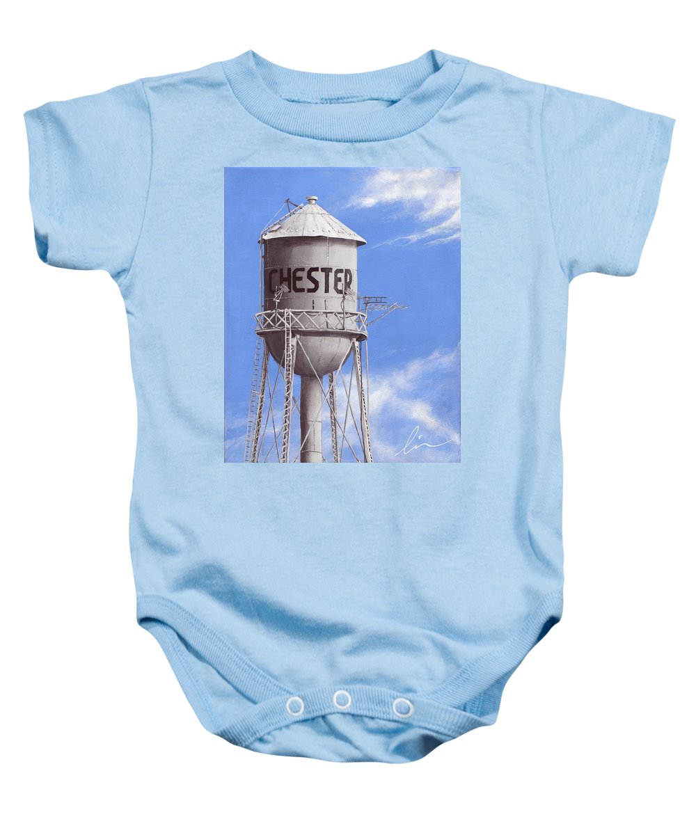 Water Tower Baby Onesie featuring the painting Chester Water Tower Ne by Cindy D Chinn