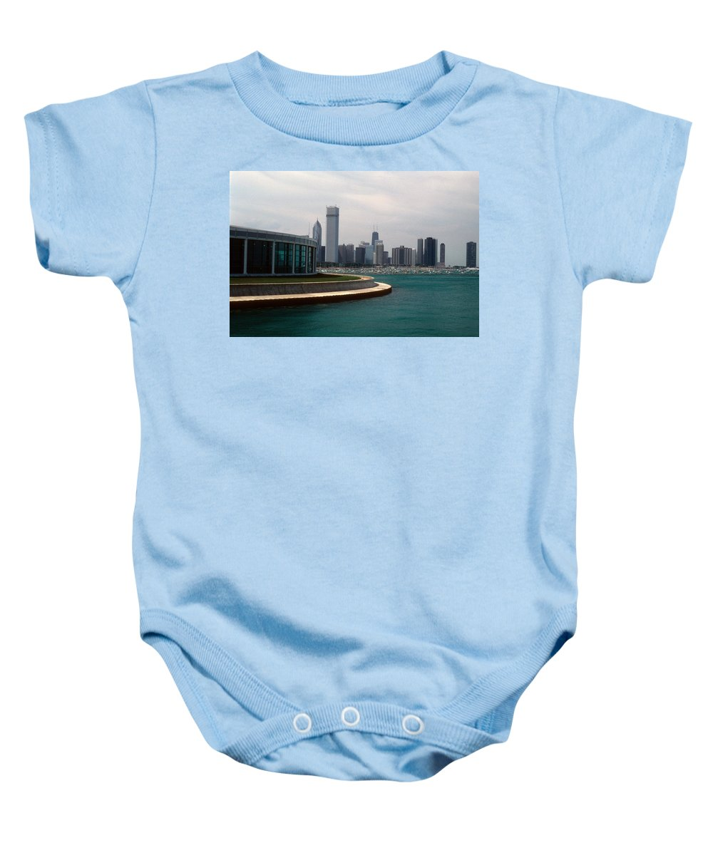 Chicago Baby Onesie featuring the photograph Chicago Waterfront by Gary Wonning